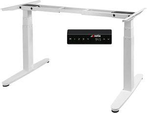 Exeta ergoSMART Elektrisch höhenverstellbarer Schreibtisch -mit 2 Motoren, 3-Fach-Teleskop, Memory-Funkt. und Softstart/-stopp, höhenverstellbares Tischgestell weiß