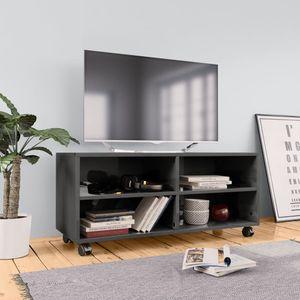 TV-Schrank mit Rollen Hochglanz-Grau 90×35×35 cm Spanplatte
