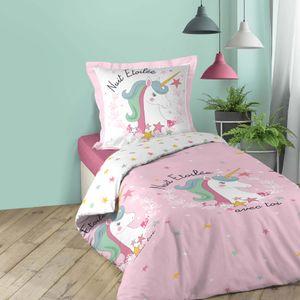 2tlg. Mädchen Bettwäsche 140x200cm Einhorn Baumwolle Bettdecke Bettgarnitur rosa