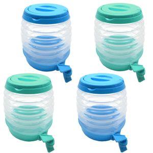 4er Set Getränkespender Faltbar 3,5l | Limonadenspender Wasserspender mit Zapfhahn | Saftspender Getränke Spender
