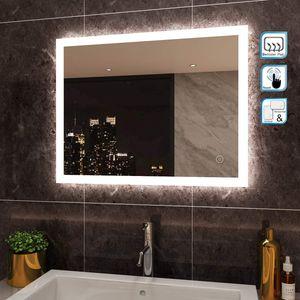 LED Badezimmerspiegel Badspiegel Wandspiegel Lichtspiegel Anti-Beschlag 80*60cm Mit Touch 4mm Kaltweiss