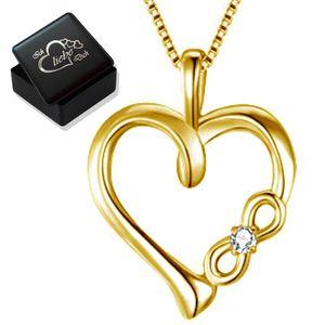 Halskette mit Herz Kristall echt 925er Silber Gold Unendlichkeit für Damen Frau Herzkette K922+V8