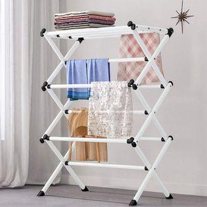 Turmwäscheständer Faltbar Wäscheständer Handtuchhalter mit 3 Ebenen Platzsparender Standtrockner für Wäscheküche & Haushaltsraum mit Kunststoffstangen Weiß
