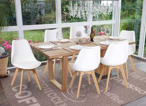 6x Esszimmerstuhl HWC-E53, Stuhl Küchenstuhl, Retro Design  weiß/weiß, Kunstleder, helle Beine