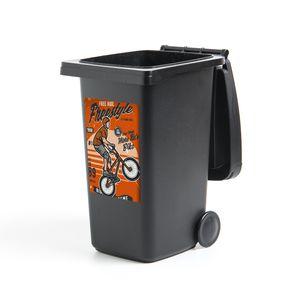 Mülltonnenaufkleber - Fiets - Mannen - Retro - 40x60 cm