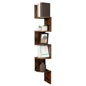 VASAGLE Bücherregal mit 5 Ebenen 127,5cm | Regal aus Holz | Eckregal mit Zickzack-Design Vintage LBC20BX
