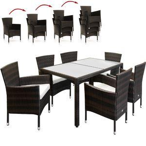 Casaria Poly Rattan 6+1 Sitzgruppe Stapelbare Stühle 7cm dicke Sitzauflagen Gartentisch wetterfestes Polyrattan Braun - Gartenmöbel Sitzgarnitur Essgruppe Garten Set