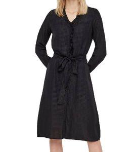 VERO MODA Blusen-Kleid schlichtes Damen Rüschen-Kleid mit Taillenband Schwarz, Größe:S