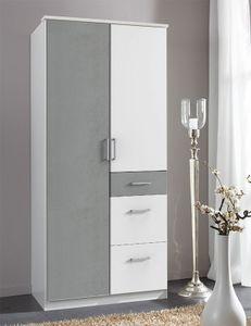 Kleiderschrank Schlafzimmerschrank Click weiß beton lichtgrau 90cm