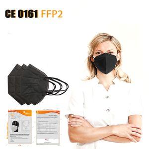 x FFP2 Maske, Schwarz, CE 0161 , 5-lagige Atmungsaktiv und Komfortabel Atemschutzmaske Gesichtsmasken, 95% Partikelfiltermaske