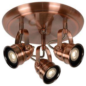 Lucide Dreh- und schwenkbarer LED Leuchtenspot Cigal im Vintage Stil in kupfer mit drei Brennstellen in runder Ausführung