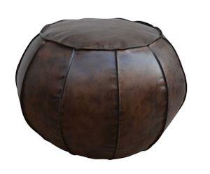 LC Home Sitzpuff Pouf rund aus Leder braun