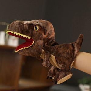 Plüsch Dinosaurier Hand Puppenspielzeug Öffnen Sie beweglichen Mund für Rollenspiel Geschenk Kinder WUX201209242BW
