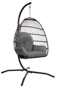 Hängesessel mit Gestell Outdoor Polyrattan mit Kissen & Abdeckhaube, Hängesessel Outdoor & Indoor (Für Erwachsene & Kinder) Faltbarer Hängestuhl Belastbar bis 150 kg (Grau)
