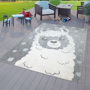 Kinderzimmer Outdoor Teppich Kinder Junge Mädchen Spielteppich Lama Design Grau, Größe:120x160 cm