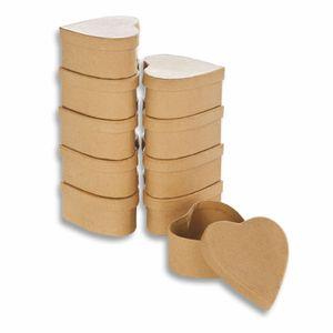 Creleo - Papp-Boxen 10 Stück HERZ 8x7,5x4cm Bastelboxen mit Deckel