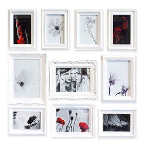 Gallery Solutions Bilderrahmen Set 10 Ornament, Weiß, Außenformat: 61x66x3 cm