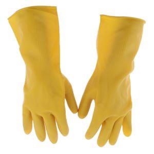 Lange Industrielle Gummi-Latex-Handschuhe Arbeiten Sicherheit Gartenhandschuhe, Gelb