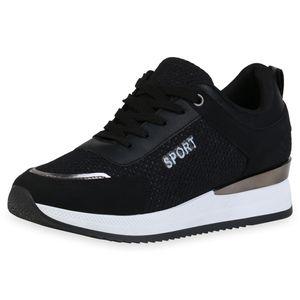 Giralin Damen Plateau Sneaker Keilabsatz Metallic Schnürer Prints Schuhe 836378, Farbe: Schwarz Metallic, Größe: 37