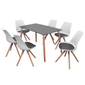 vidaXL 7-teilige Essgruppe Tisch Stühle Schwarz und Weiß