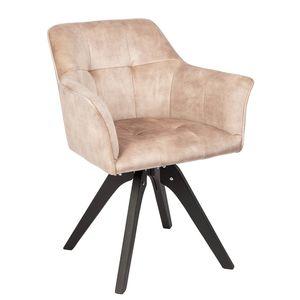 Drehbarer Design Stuhl LOFT champagner Samt Retrostil mit Ziersteppung Armlehnstuhl Esszimmerstuhl
