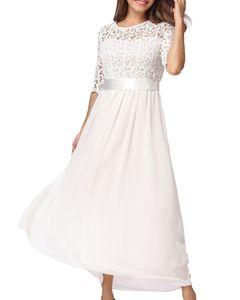 Frauen-Kleid-Spitze-Chiffon- halbe Huelsen-duennes Maxi-Kleid-elegantes Prinzessin-Abend-Partei One-Piece,4XL