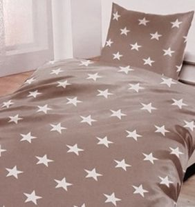 Biber Bettwäsche grau mit Sternen 135 x 200 cm  80 x 80 cm 100 % Baumwolle