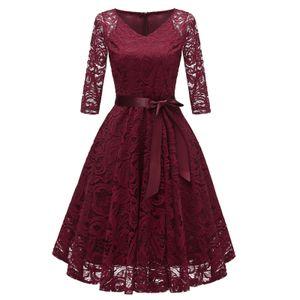 Vintage Frauen der 1950er Jahre Crochet Lace Plissee Kleid V-Ausschnitt 3/4 aermel Guertel Abend Party Swing Dress L