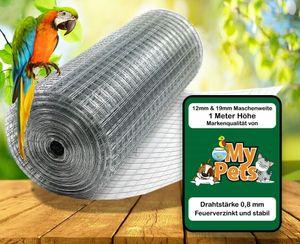 Volierendraht 1 x 25 Meter 19 x 19 mm Drahtgitter Verzinkt Drahtzaum Maschendraht Draht Voliere