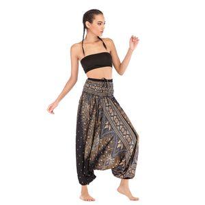 Damen Blumendruck Pluderhosen Boho Yogahosen lange Strandhose schwarz Tierdruck wie beschrieben