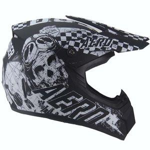AERO Skeleton Crosshelm für Kinder schwarz matt / weiß Motocrosshelm Helm Kinderhelm : XS Größen: XS