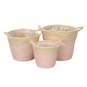 3tlg. kl. Pflanzkorb SUMMER geflochtene Körbe mit Folie zum Bepflanzen (3 Größen