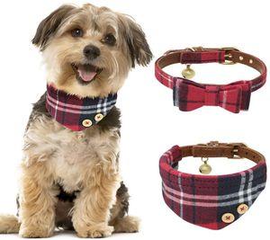 2 Stücke Hundehalsband Leder Katze Halsband Verstellbare Hundehalsband mit Fliege Halstuch und Glocke für Kleine Hund