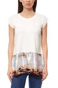 Boho T-Shirt Hippie Damen Weiß Laura Scott, Größe:36