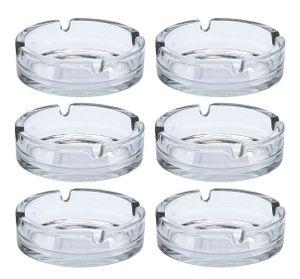 Glas Aschenbecher rund - ca. 10cm - 6 Stück