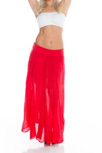 Sommer Maxi Rock im Coachella-Look, Farbe: Rot, Größe: One Size (Einheitsgröße)