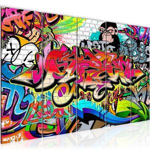 Graffiti Street Art BILD 200x80 cm − FOTOGRAFIE AUF VLIES LEINWANDBILD XXL DEKORATION WANDBILDER MODERN KUNSTDRUCK MEHRTEILIG 401755a