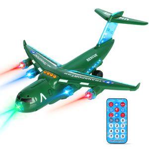 Flugzeugspielzeug mit attraktiven LED-Blinklichtern und Sounds   Spielzeugflugzeuge für Kinder im Alter von 3 - 12 Jahren (Grün)