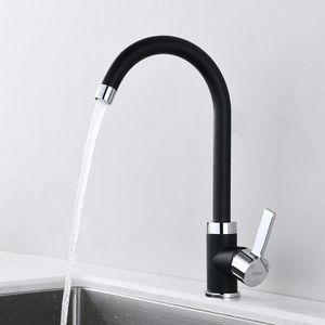 Wasserhahn Küche schwarz Küchenarmatur 360° Drehbar Spültischarmatur Schwarz Hockdruck Mischbatterie Küche mit Hohem Auslauf
