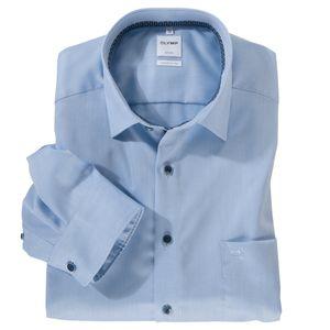 Olymp Übergrößen Langarmhemd bügelfrei bleu Struktur, Kragenweite:52
