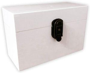 Dekorative Spardose aus Holz in Weiss mit Schloss und Schlüssel I Ideal als Spardose für den Urlaub - Geldgeschenk zum Geburtstag oder Hochwertige Deko Box zur Aufbewahrung von Geld mit Münzeinwurf