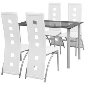 Huicheng 5tlg. Esstisch Set Essgruppe mit 1 gehärtetes Glas Tisch und 4 Kunstleder Stühlen Weiß