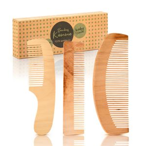 bambuswald© 3er Set Haarkämme aus 100% Bambus - ökologisch in Handarbeit gefertigt - Kamm für Damen, Herren, Mädchen & Frauen - Holzkamm / Naturkamm für optime Haarpflege - Frisierkamm / Taschenkamm