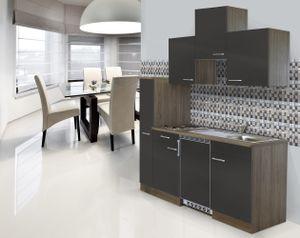 respekta Küche Küchenzeile Singleküche Einbau Küchenblock 180 cm Eiche York grau