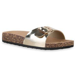 Mytrendshoe Damen Sandalen Pantoletten Sommer Schlappen Hausschuhe 830089, Farbe: Gold, Größe: 39