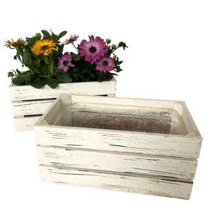 2 Holzkisten zum Bepflanzen im Set - Blumentopf, Blumenkasten für Kräuter und Blumen im Vintage Stil, Weiß, P32