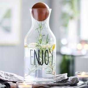 Glas-Karaffe Enjoy Wasserkaraffe Wasserkrug Saftkrug Holzball als Verschluss