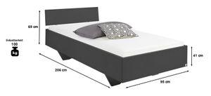 Jugendbett 90*200 cm grau Jugendliege Kinderbett Bettliege Bett Bettgestell Gästezimmer Jugendzimmer Kinderzimmer