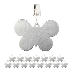 relaxdays 16 x Tischdeckenbeschwerer Tischtuchgewicht Tischtuchbommel Schmetterling silber