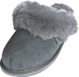 Extra dicke Lammfell Pantoffeln für Damen , Farben:grau, Schuhgröße:40
